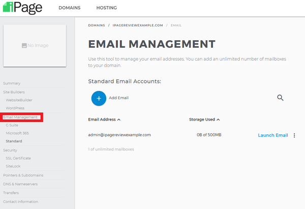 manage emails at ipage